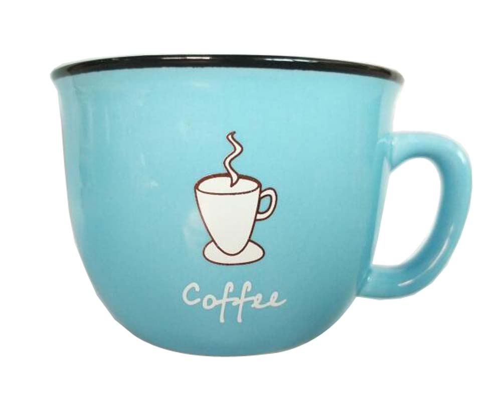 Creative Cute Cup Coffee Milk Tea Ceramic Mug Cup BLUE
