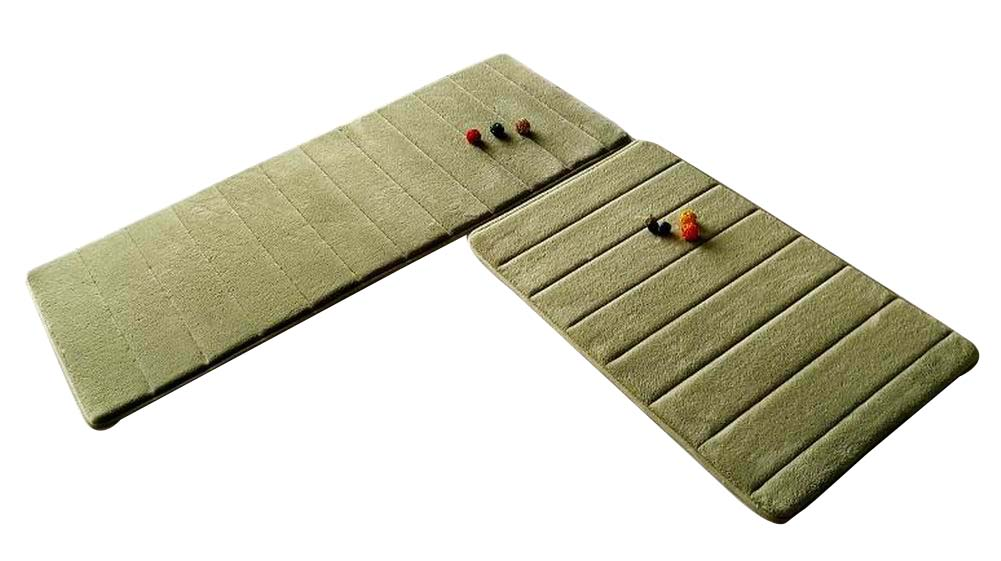 [Green-1] 2 Pcs Absorbent Non-Slip Kitchen Rugs Kitchen Floor Mats