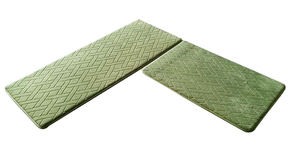 [Green-2] 2 Pcs Absorbent Non-Slip Kitchen Rugs Kitchen Floor Mats