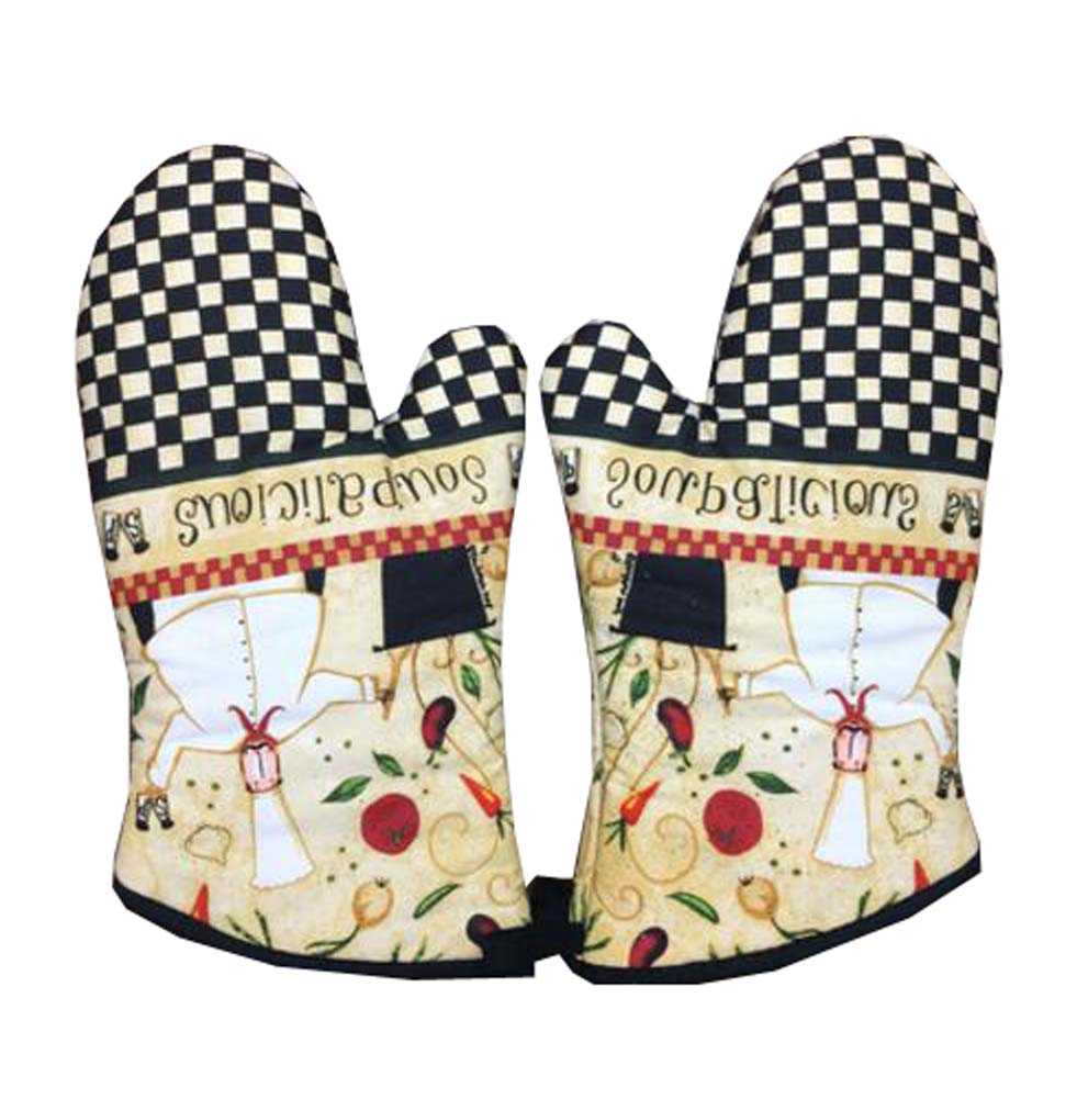 1 Pair of Extra Long Professional Heat Resistant Potholder Gloves - Oven Mitt, E