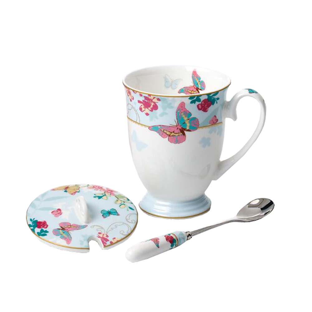 European Style Ceramic Tea Cup Coffee Mug  With Spoon And Lid