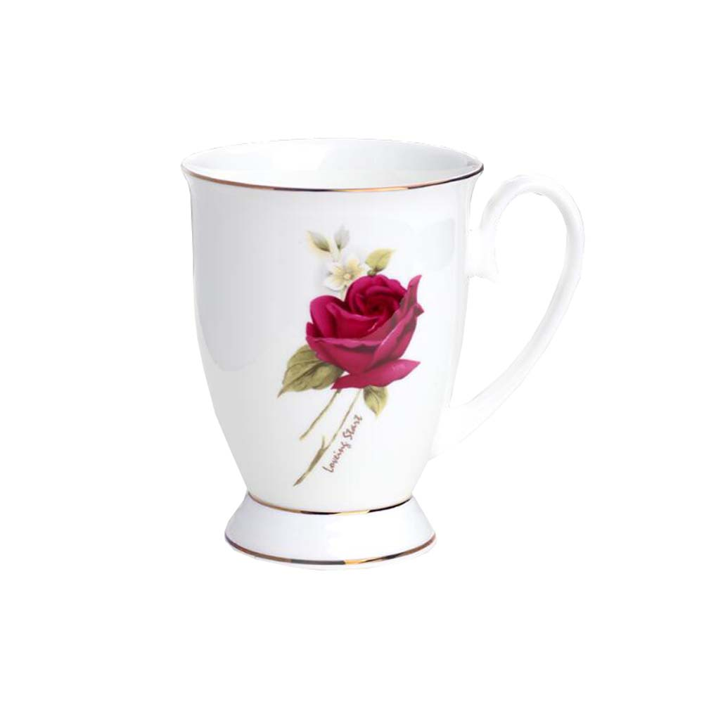 European Style Office Ceramic Tea Cup Coffee Mug Rose PatternWithout Lid