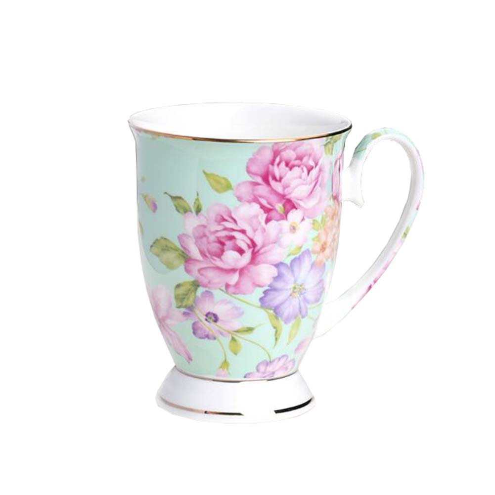 European Style Office Ceramic Tea Cup Coffee Mug Pink FlowerWithout Lid
