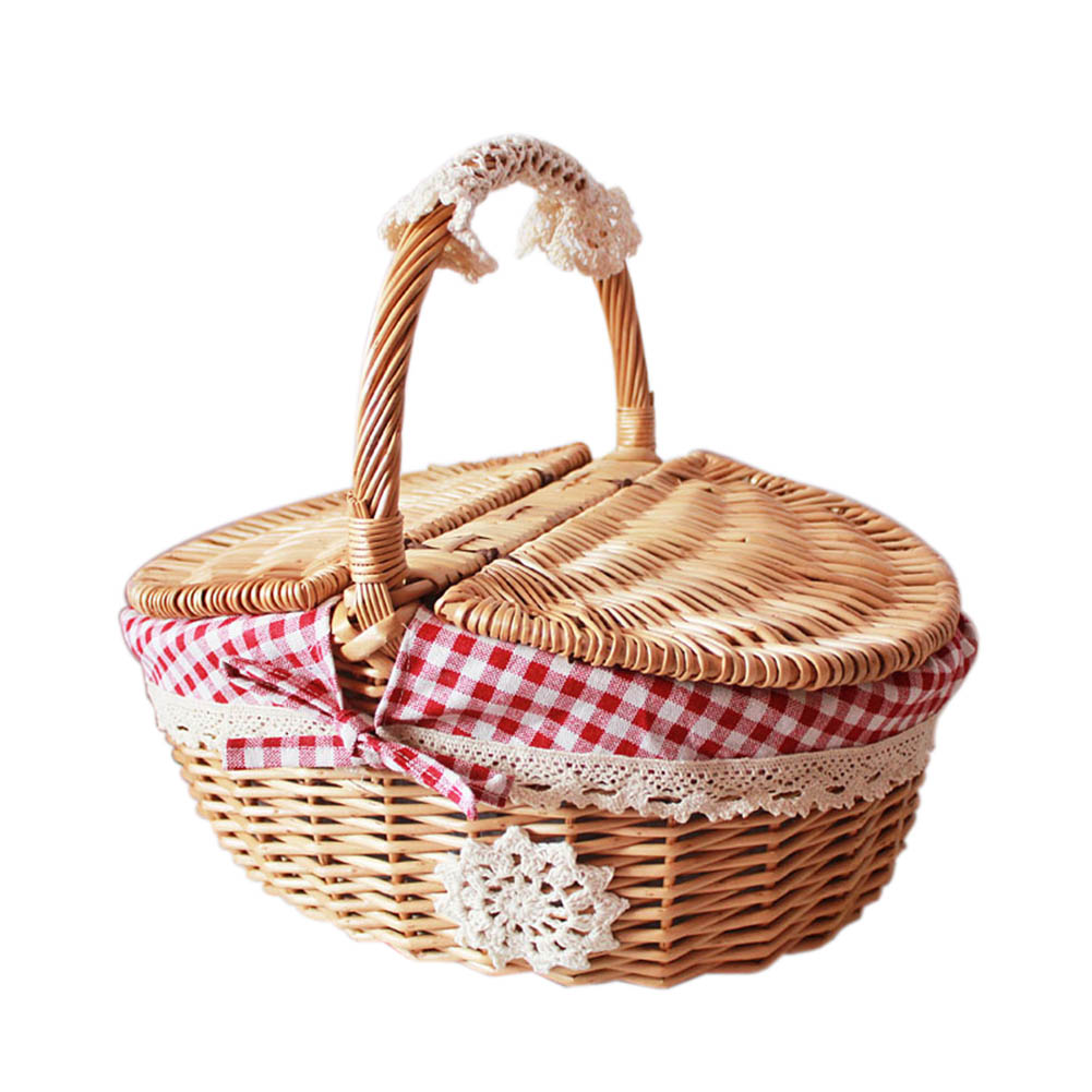 Hand-Woven Picnic Basket Little Red Riding Hood Basket Easter Basket,Small