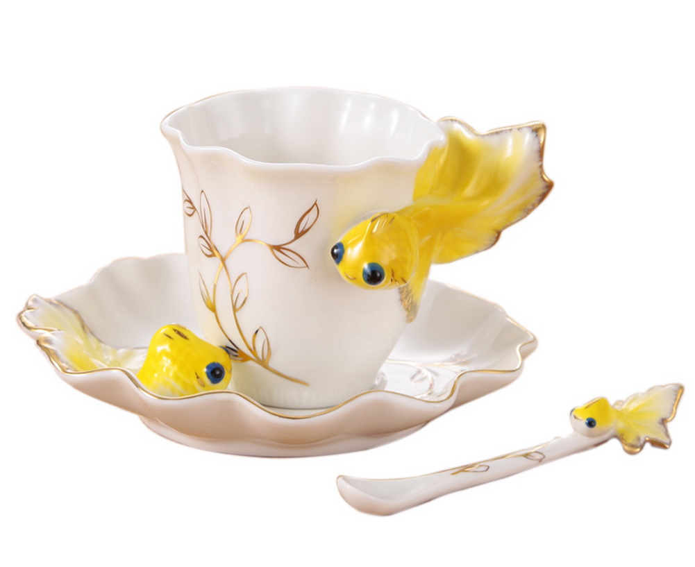 Goldfish Coffee Cup Set With Saucer Steel Spoon European Ceramic Teacup,Yellow