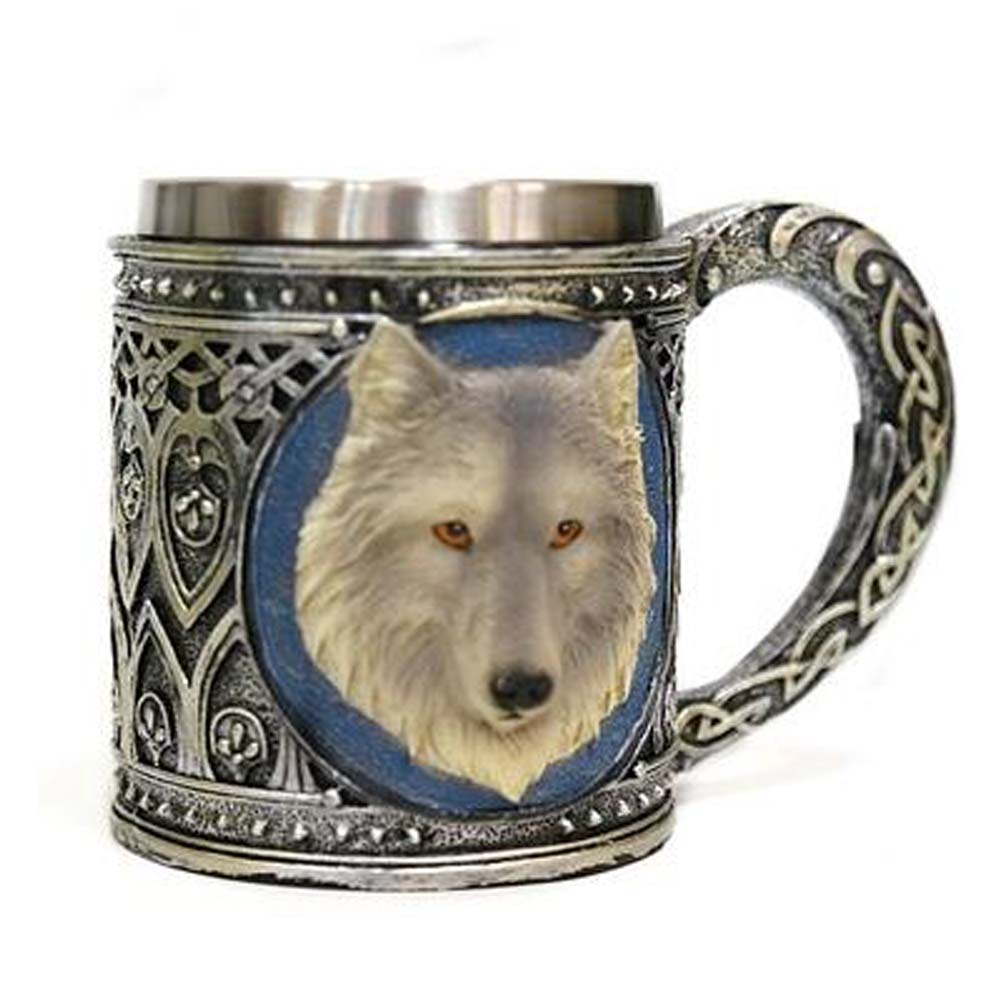 Stainless Steel Wolf Head Cup/Mug For 3D Design Art Collection Gift Tea Mug